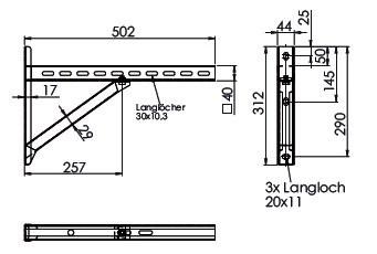 Wandkonsole TYP2 (Paar) Abstand bis 25.5 cm